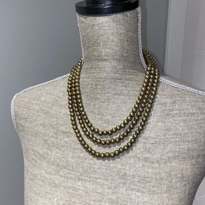 Brass Pearl Long Strand Necklace